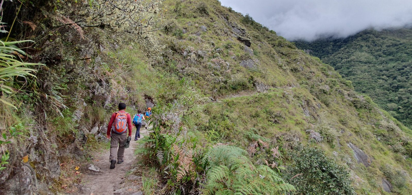 Photo of us walking the Inca trail