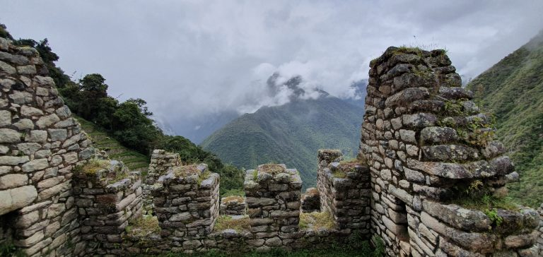 Photo taken from Wiñay Wayna, includes an old building and someview