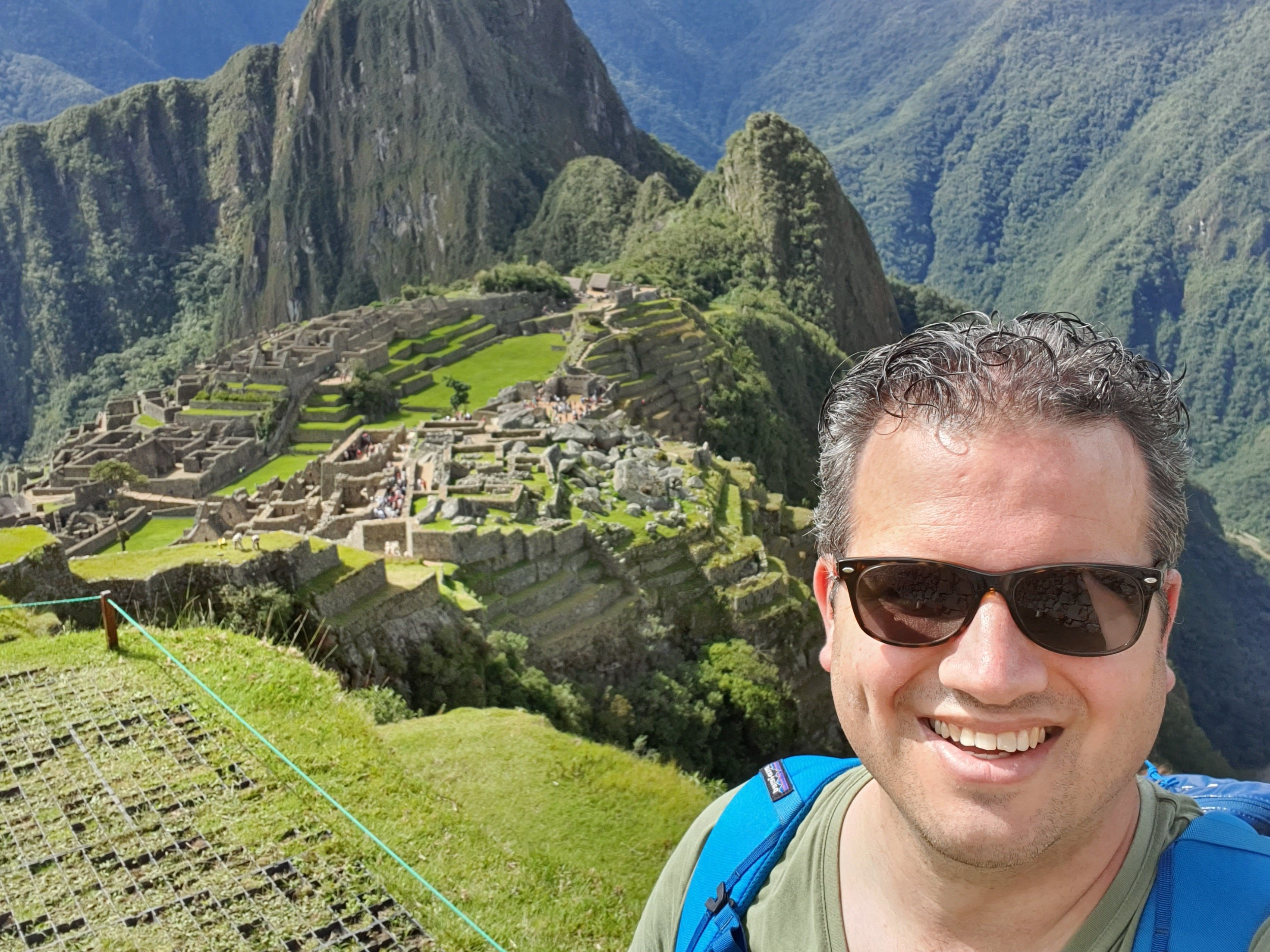 A selfie with Macchu Pichu in the background