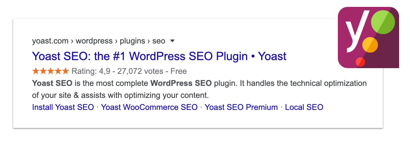 "Screenshot of a Google search result for ""Yoast SEO"", showing Yoast SEO with 27,000+ ratings for an average of 4.9 out of 5."